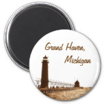 lighthouse of grand haven michigan 2 inch round magnet