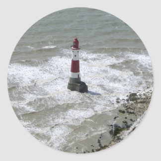 Lighthouse off Beachy Head, East Sussex Classic Round Sticker