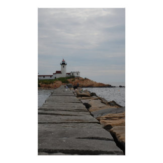 Lighthouse on a cloudy day poster