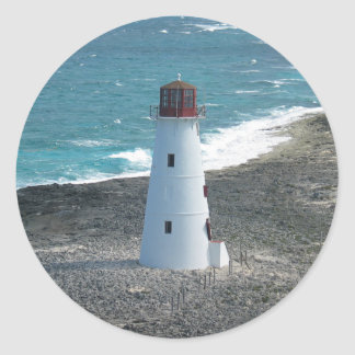 Lighthouse on Approach to Harbor in Bahamas Classic Round Sticker