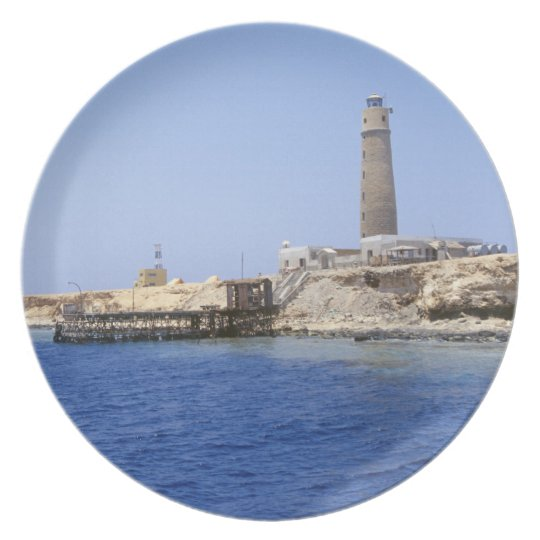 Lighthouse on Brother Islands, Red Sea, Egypt Dinner Plate