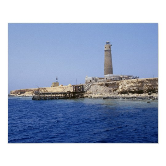 Lighthouse on Brother Islands, Red Sea, Egypt Poster