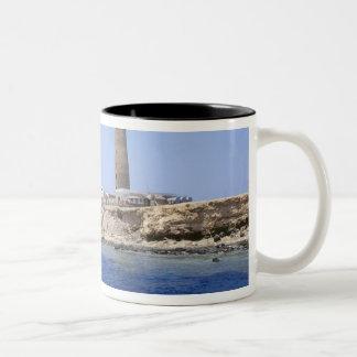 Lighthouse on Brother Islands, Red Sea, Egypt Two-Tone Coffee Mug