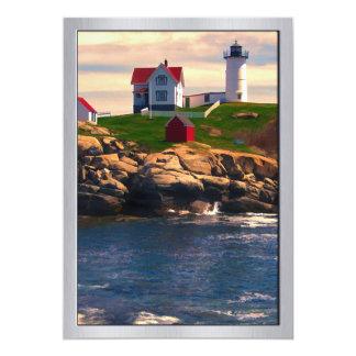 Lighthouse on Coast at Sunset Card