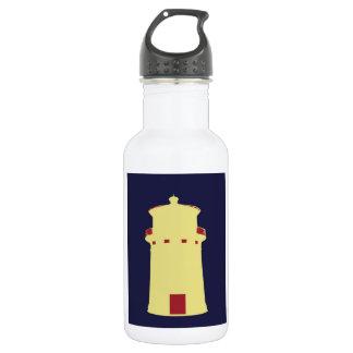 Lighthouse on navy blue. 18oz water bottle