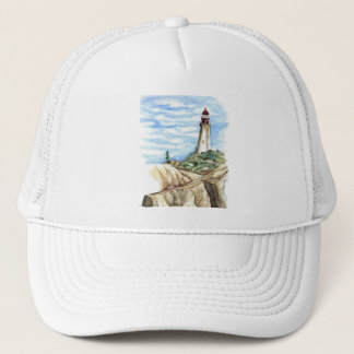 Lighthouse on Rocky Bluff - watercolor pencil Trucker Hat