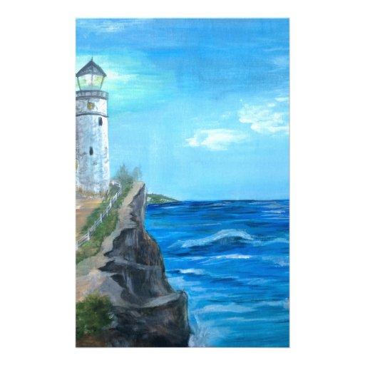 Lighthouse on the Cliffs Custom Stationery