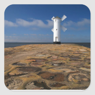Lighthouse on the Mole in Swinemuende Square Sticker