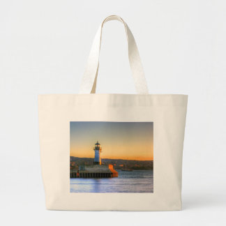 Lighthouse on the North Pier Large Tote Bag