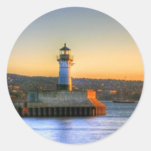 Lighthouse on the North Pier Round Sticker