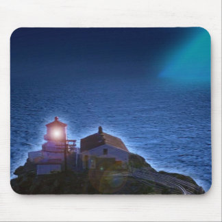 Lighthouse on the ocean at night blue sea mousepad