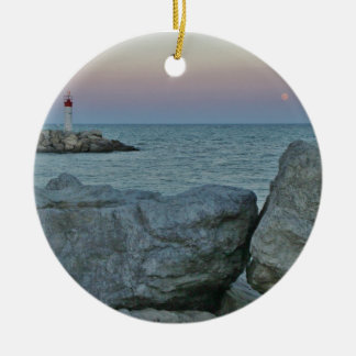 Lighthouse on the Rocky Shore Ceramic Ornament