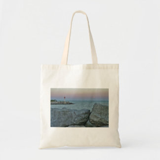 Lighthouse on the Rocky Shore Tote Bag