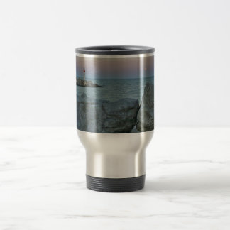 Lighthouse on the Rocky Shore Travel Mug