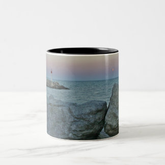 Lighthouse on the Rocky Shore Two-Tone Coffee Mug