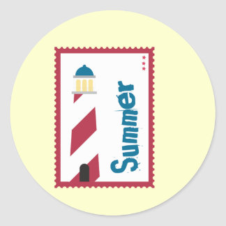 Lighthouse on the Seashore Classic Round Sticker