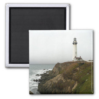 Lighthouse on the Shoreline 2 Inch Square Magnet