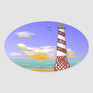Lighthouse Oval Sticker