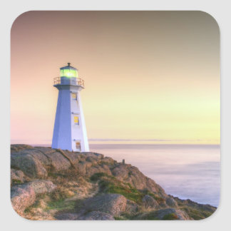 Lighthouse Overlooking the Ocean Photo Square Sticker