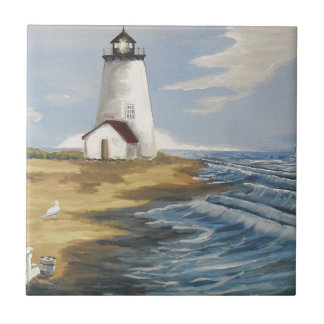 Lighthouse Painting Ceramic Tile