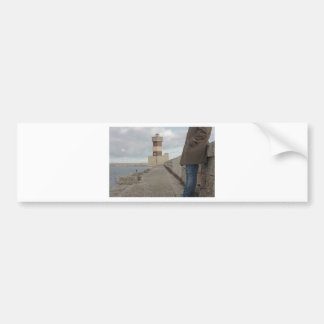 Lighthouse passerby man standing bumper stickers