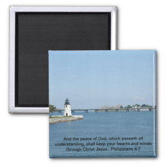 Lighthouse Philippians 4:7 2 Inch Square Magnet