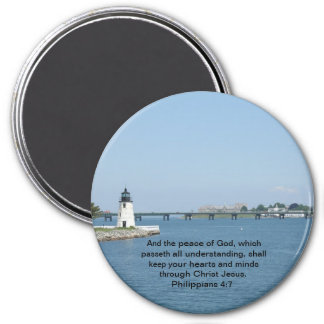 Lighthouse Philippians 4:7 3 Inch Round Magnet