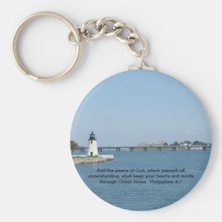 Lighthouse Philippians 4:7 Keychain