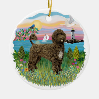 Lighthouse - Portuguese Water Dog #2 brown Double-Sided Ceramic Round Christmas Ornament