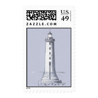 Lighthouse Postage Vintage Woodcut Lithograph