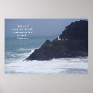 Lighthouse Print w/Scripture Verse