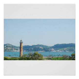 Lighthouse protecting the city over the river poster