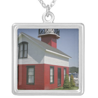 Lighthouse relocated shore in Douglas near 2 Square Pendant Necklace