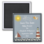 Lighthouse & Sailboat Save The Date Baby Shower 2 Inch Square Magnet