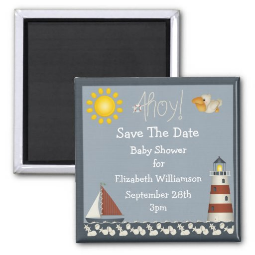 Lighthouse & Sailboat Save The Date Baby Shower Magnets