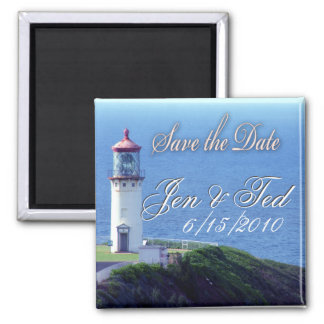 Lighthouse save the date 2 inch square magnet