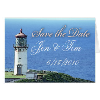 lighthouse save the date card
