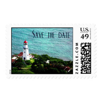 Lighthouse save the date postage stamp