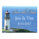 lighthouse save the date postcard