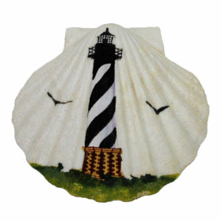 Lighthouse Scallop Shell Keychain