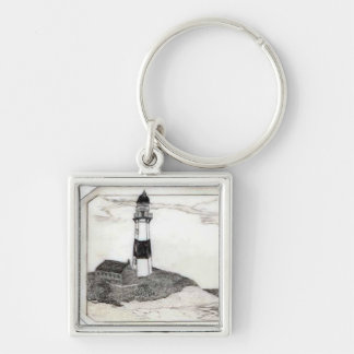 Lighthouse Scrimshaw Silver-Colored Square Keychain