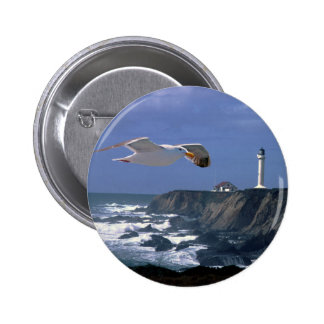 Lighthouse & Seagull Button