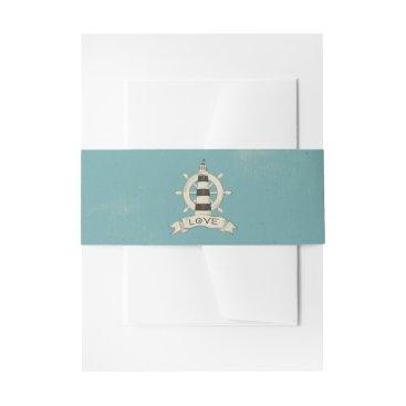 Lighthouse & Ship Anchor Nautical Teal Wedding Invitation Belly Band