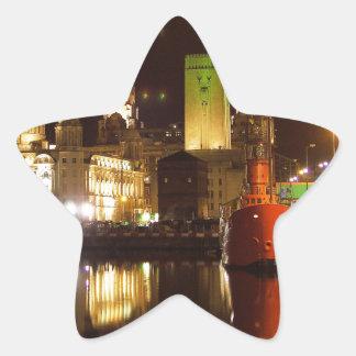 Lighthouse Ship & Liver Buildings, Liverpool UK Star Sticker
