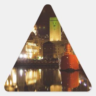 Lighthouse Ship & Liver Buildings, Liverpool UK Triangle Sticker