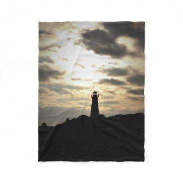 glabayphotography Lighthouse Silhouette Fleece Blanket