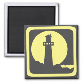 Lighthouse Silhouette 2 Inch Square Magnet