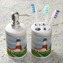 Lighthouse Soap Dispenser & Toothbrush Holder Set