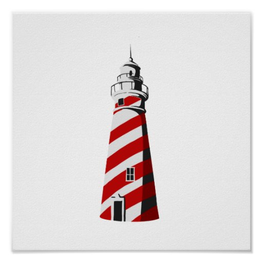 lighthouse spiral red white landing.png posters