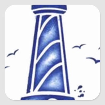 Lighthouse Square Sticker by CREATIVEBRANDING at Zazzle